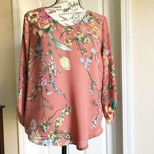 Lily White Peach Floral Blouse w/Long Sleeves